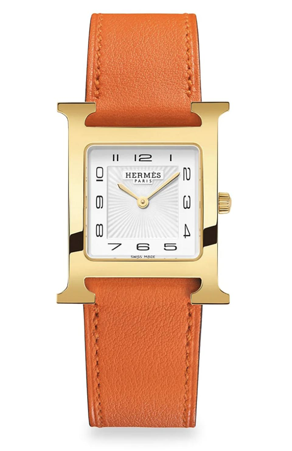 Hermès Heure H Gold Plated & Leather Strap Watch