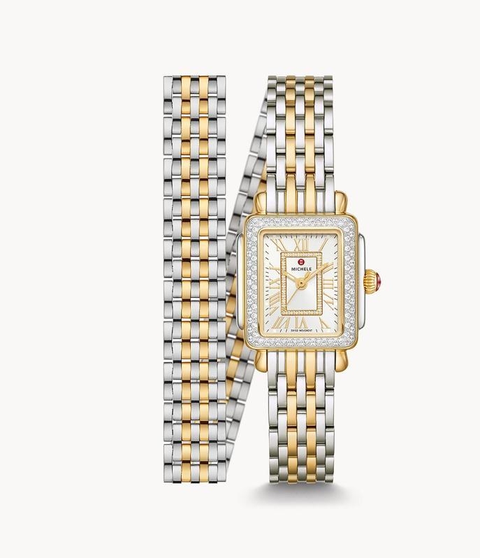 Michele Deco Madison Mini Two-Tone 18k Gold Diamond Watch, 22 mm