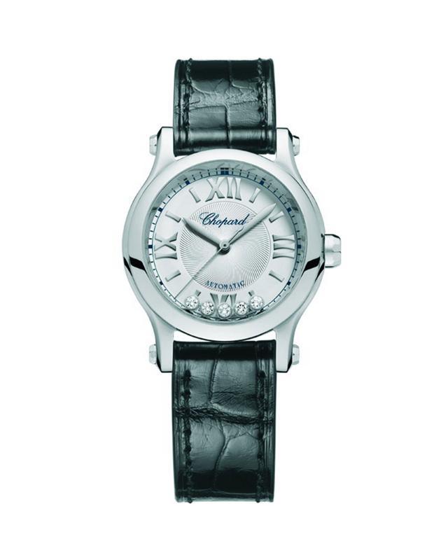 Chopard Happy Sport 5-Diamond Watch w/ Alligator Strap, 30 mm