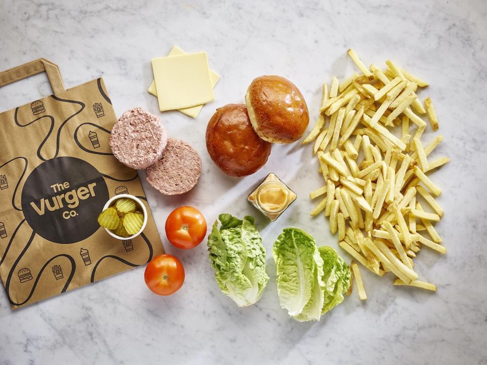 vegan burger patties, lettuce, fries
