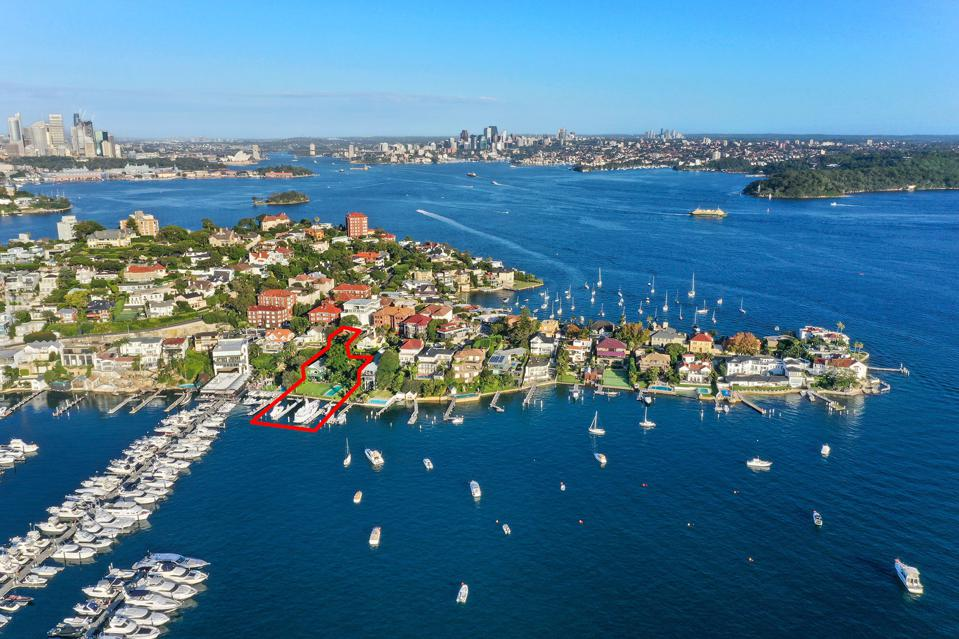 aerial view of boatshed marina property 29A Wunulla Road, Point Piper south wales sydney