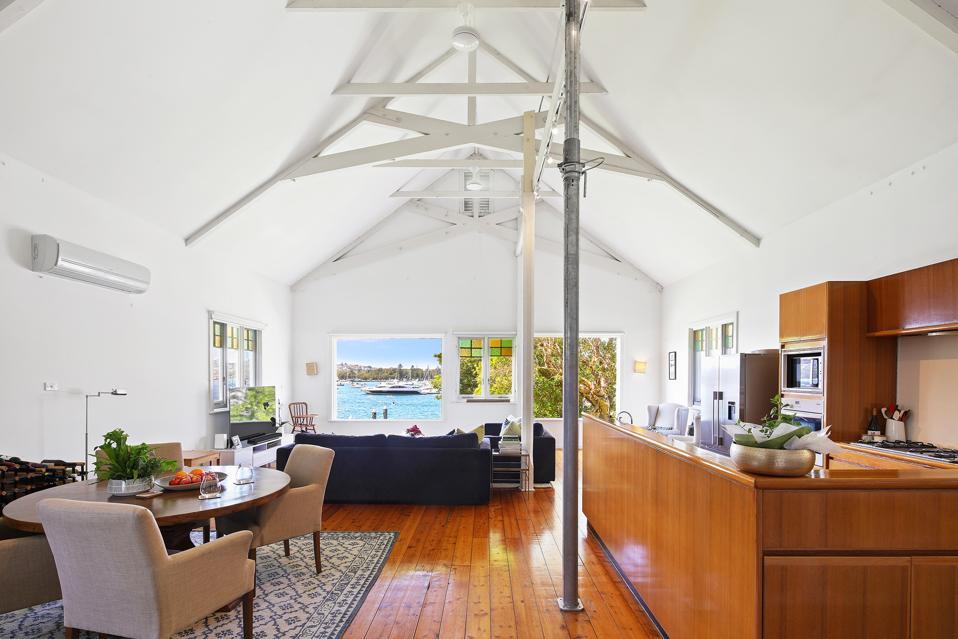 living room inside boatshed sydney australia waterfront marina luxury home