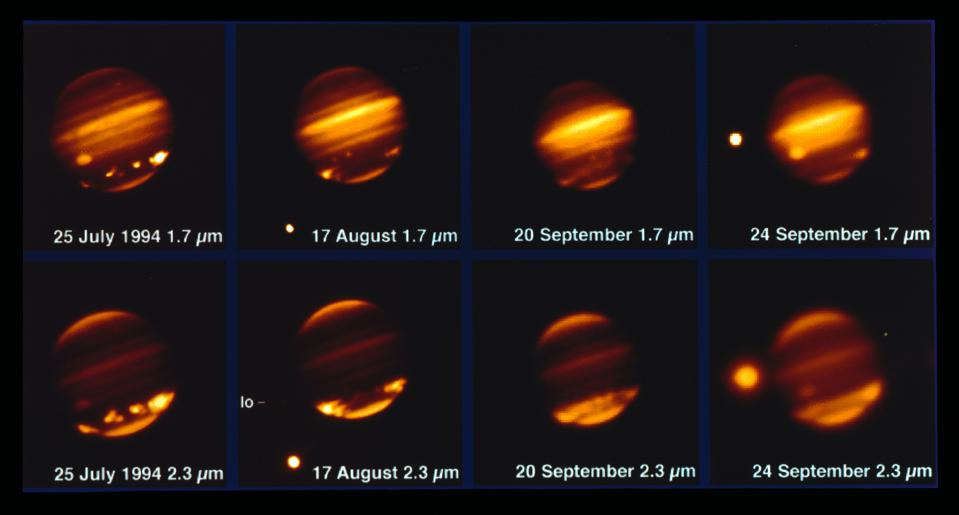 This image, taken with the MPG/ESO 2.2-metre telescope and the IRAC instrument, shows comet Shoemaker–Levy 9 impacting Jupiter in July 1994.