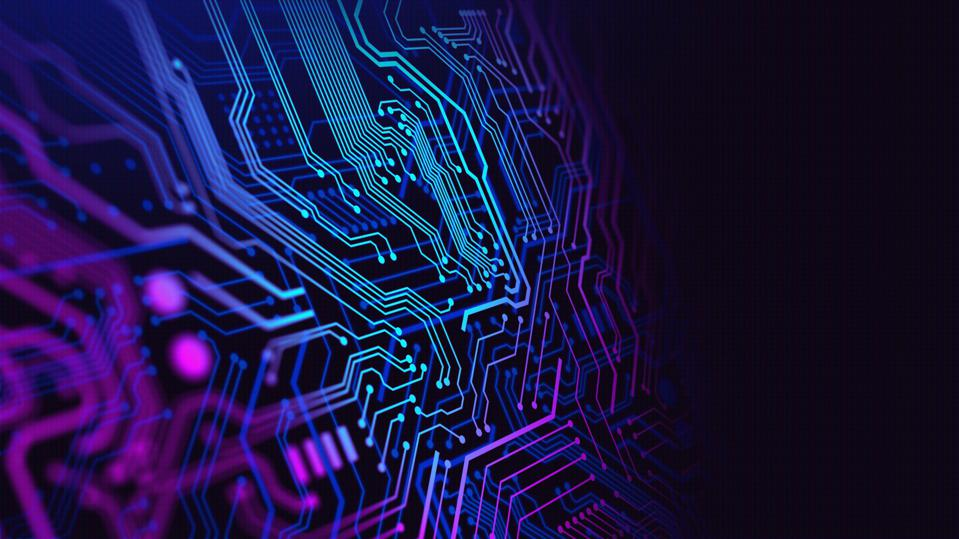 Blue and Purple technology background circuit board