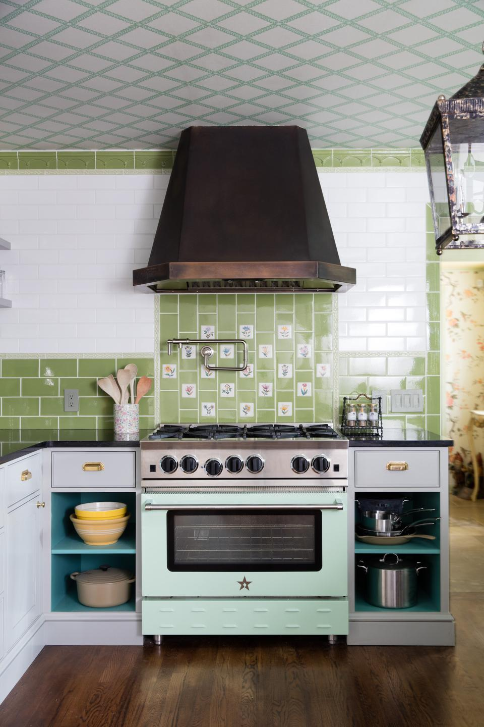 Blue Star's pastel green stove.