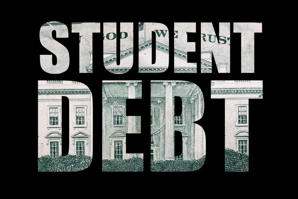 Student Debt text with money as background