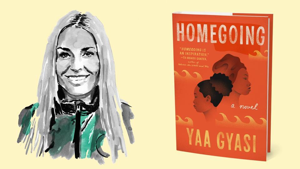 An illustration of Lindsey Vonn alongside the novel 'Homegoing' by Yaa Gyasi.