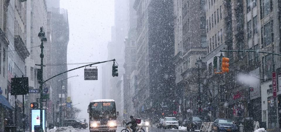 Snowstorm in New York City.