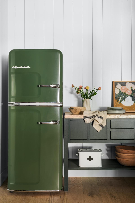 Big Chills olive green refrigerator.