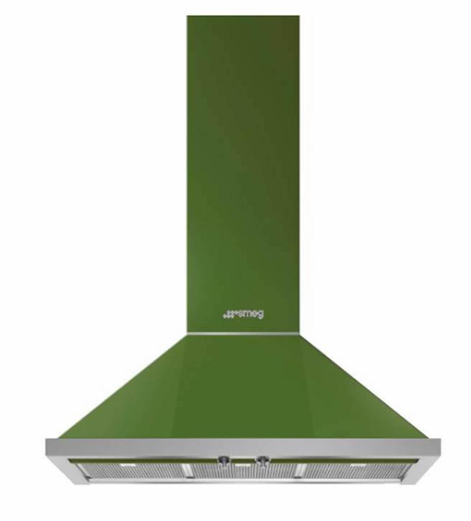 This is part of SMEG's Portofino collection This 36″ Chimney Hood is in  Olive Green.
