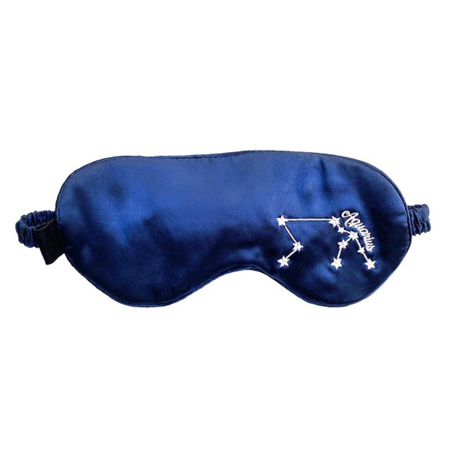 NIGHT Zodiac Silk Beauty Eye Mask with embroidered Aquarius constellation