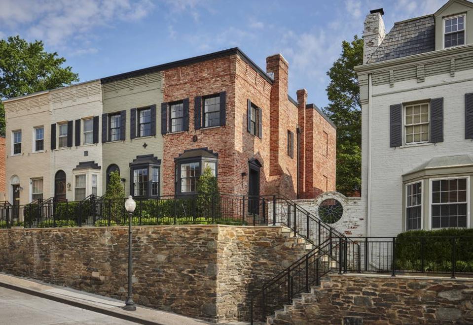 Brick townhouses on a block in the Georgetown neighborhood of Washington D.C.