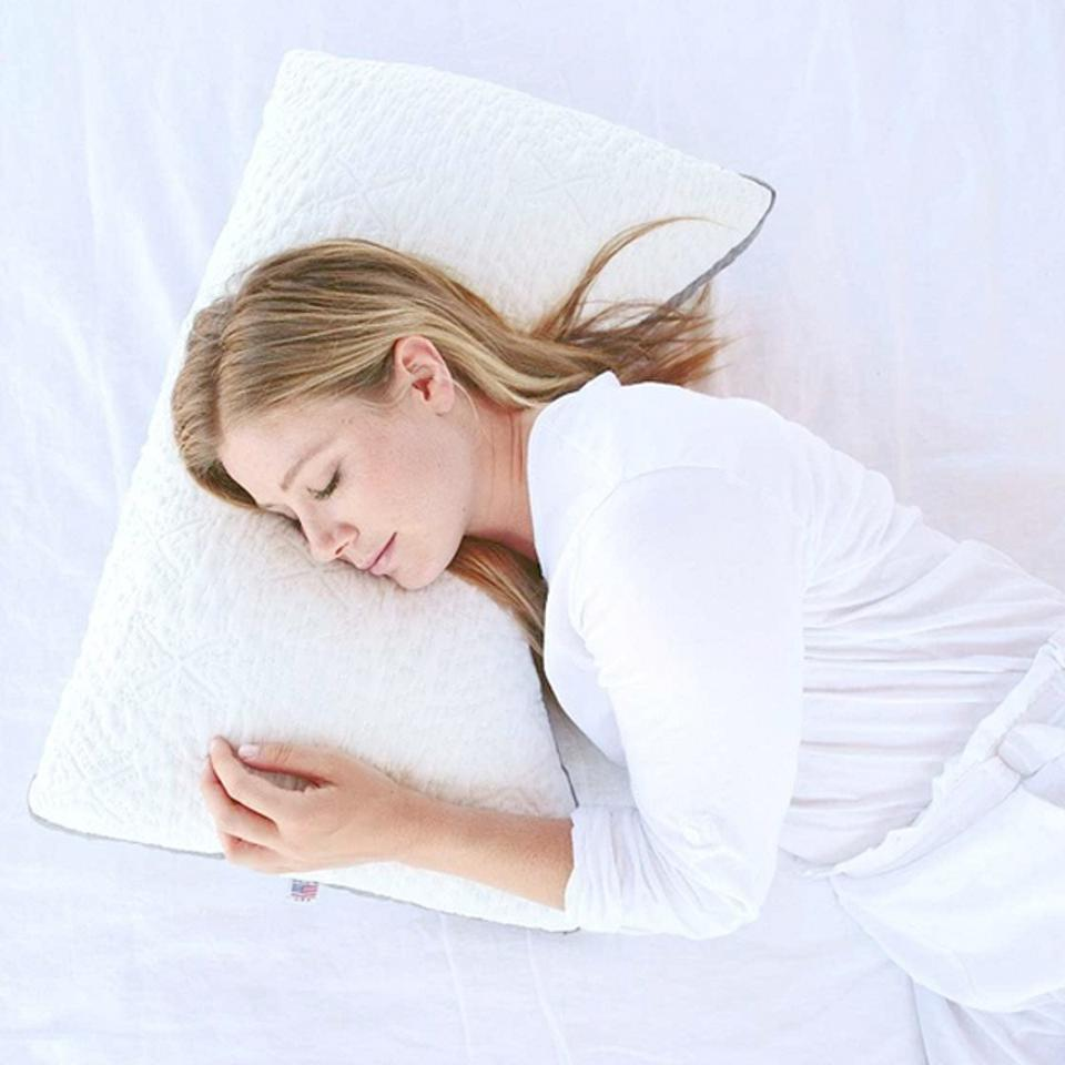 woman sleeping on Nest Bedding The Easy Breather Pillow
