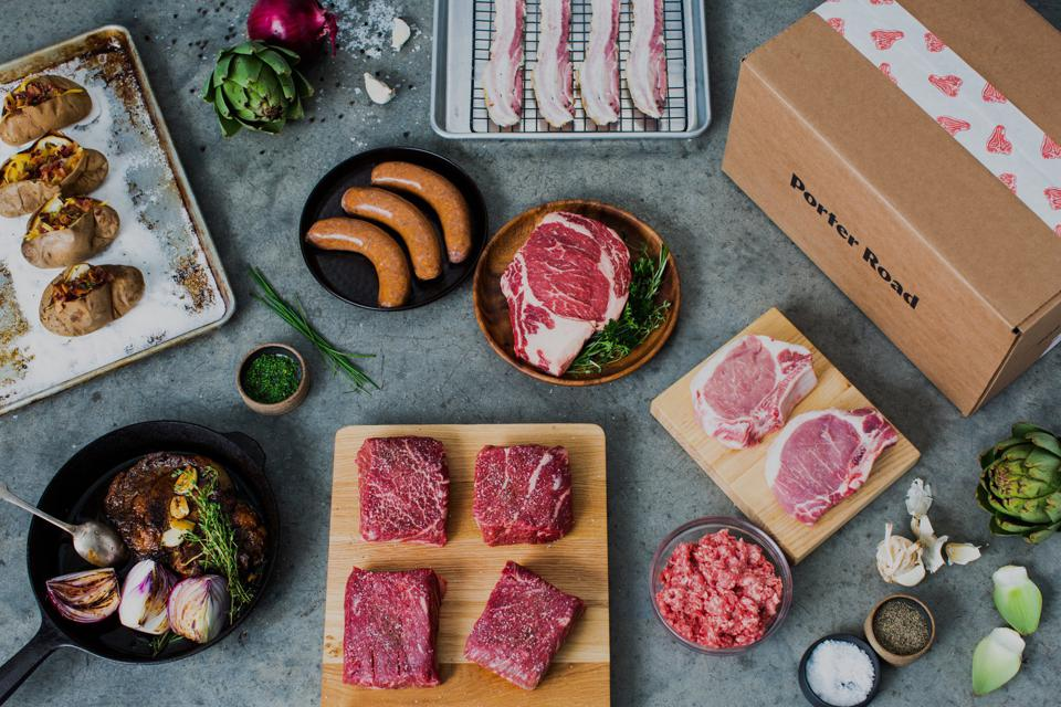 Overhead shot of a meat delivery box from Porter Road
