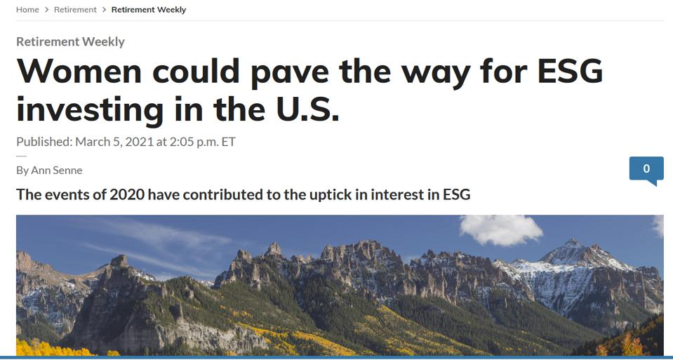 Marketwatch on women paving way for ESG