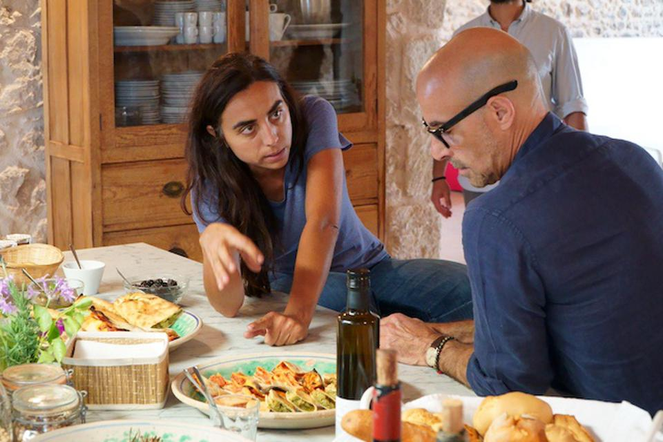 Sicilian winemaker Arianna Occhipinti and Stanley Tucci