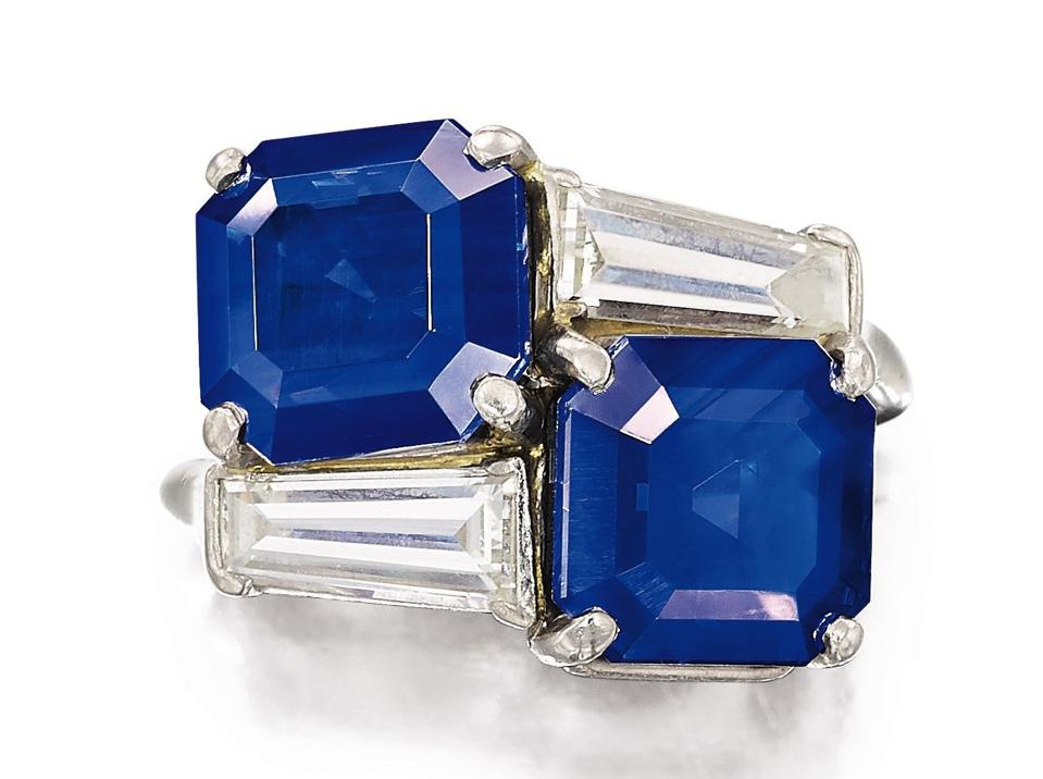 A Cartier ring with two Kashmir sapphires: Estimate is $970,000 – $1.1 million