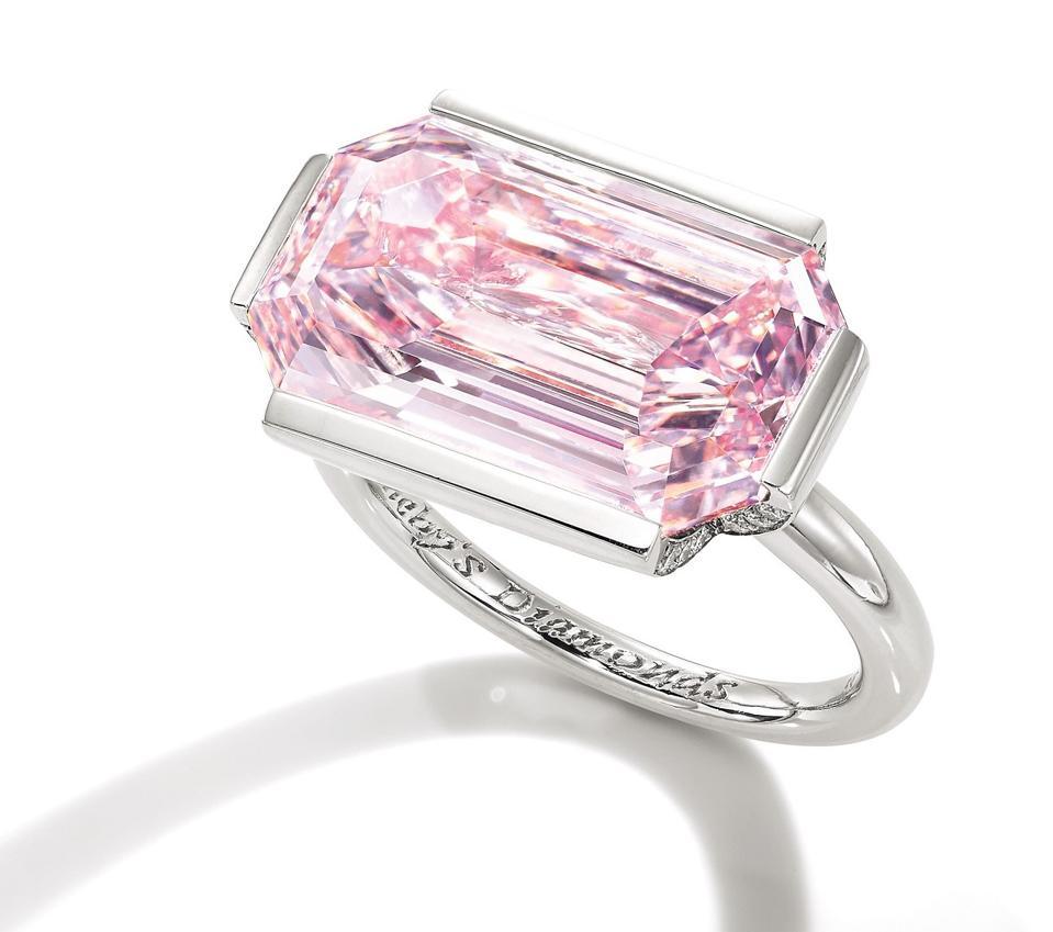 7-carat fancy intense purplish pink diamond on a ring. Its estimate is $5.8 - $7.1 million