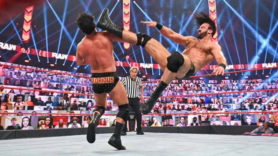 Drew McIntyre delivers a Claymore Kick on an episode of WWE Raw.