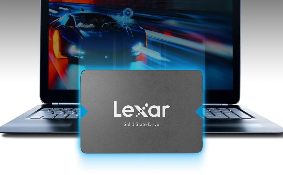 Lexar Nq100 in front of a laptop