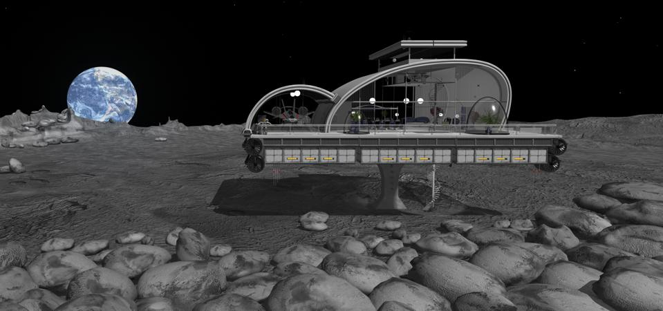 Modern House on the moon with earth