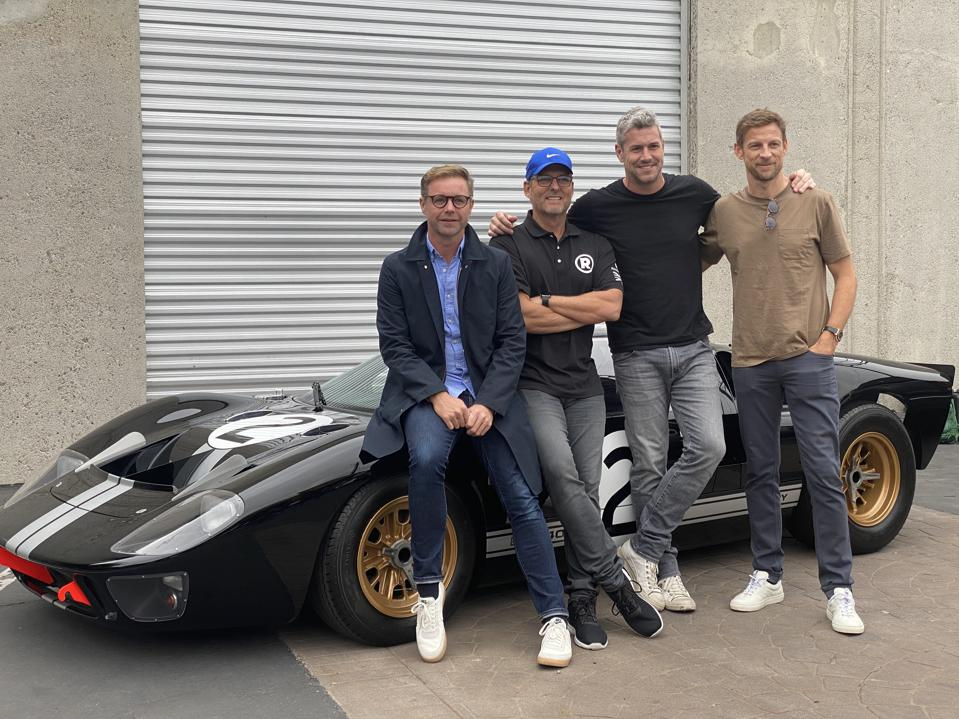 Designer Mark Stubbs, Business Advisor Roger Behle, Builder Ant Anstead and Driver Jenson Button  in front of a Ford GT