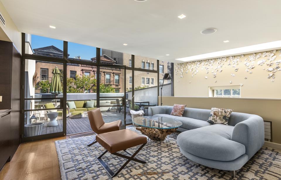 living room inside manhattan apartment at 42 Jane Street new york city