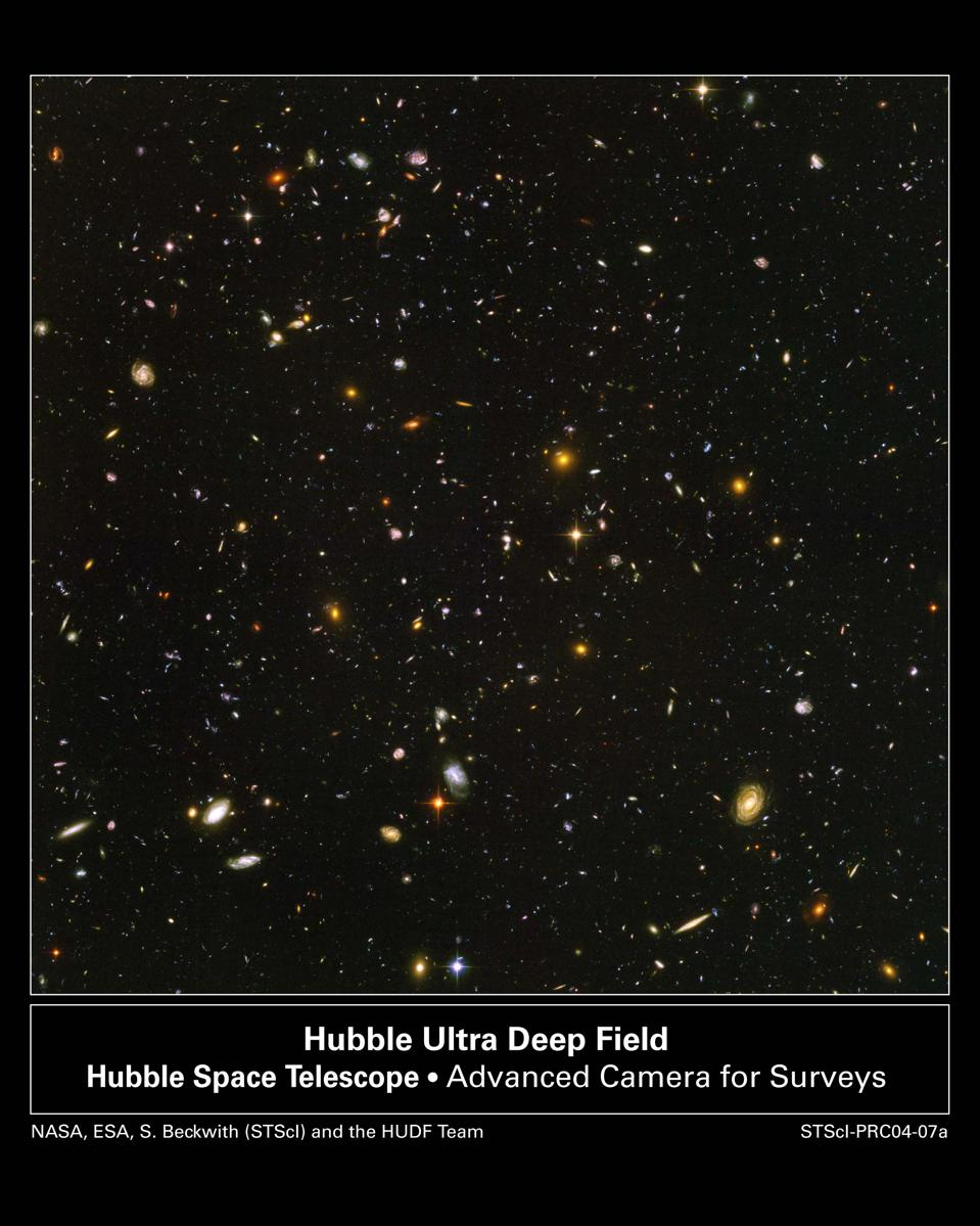The original Hubble Ultra Deep Field image. It required 800 exposures taken over the course of 400 Hubble orbits around Earth. The total amount of exposure time was 11.3 days, taken between Sept. 24, 2003 and Jan. 16, 2004.