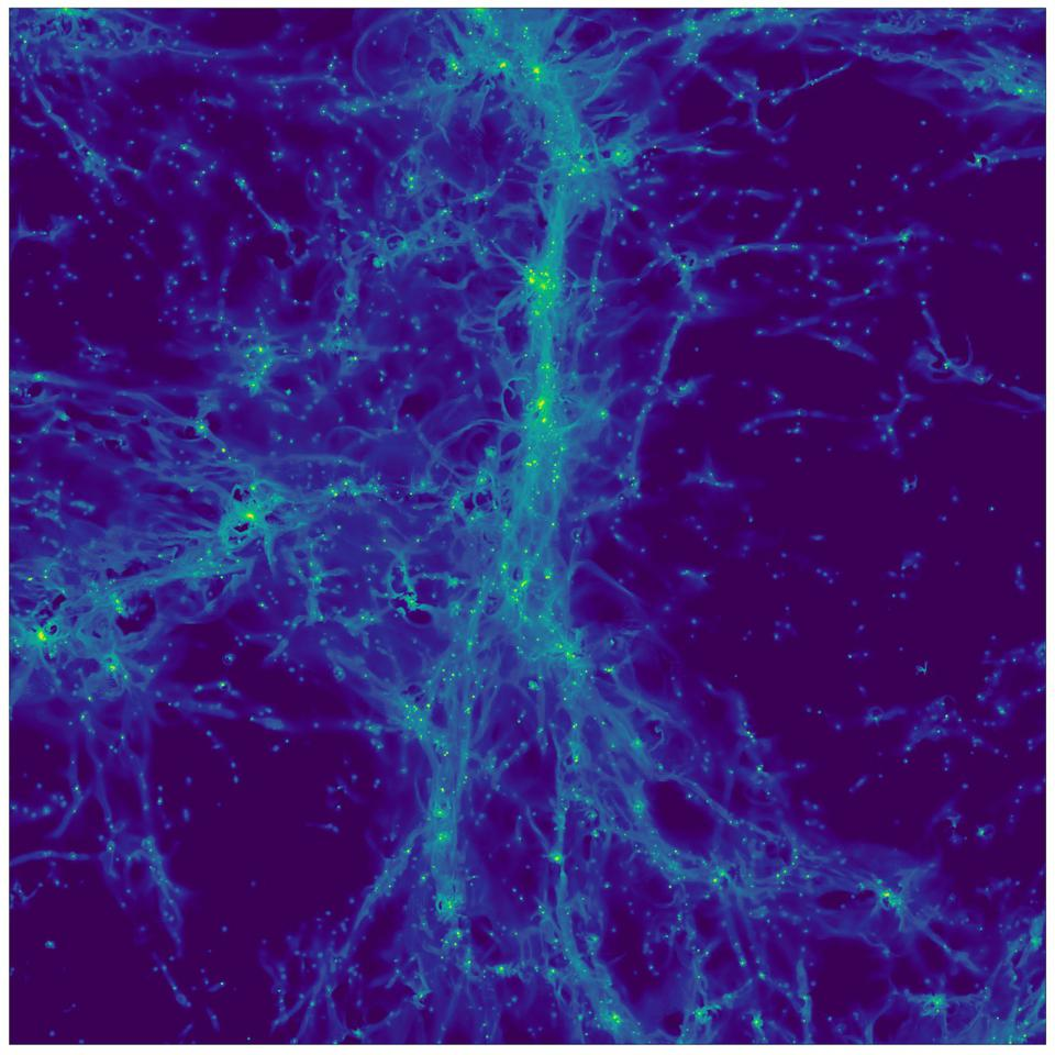 Cosmological simulation of the distant Universe. The image shows the light emitted by hydrogen atoms in the cosmic web in a region roughly 15 million light years across.  In addition to the very weak emission from intergalactic gas, a number of point sources can be seen: these are galaxies in the process of forming their first stars.