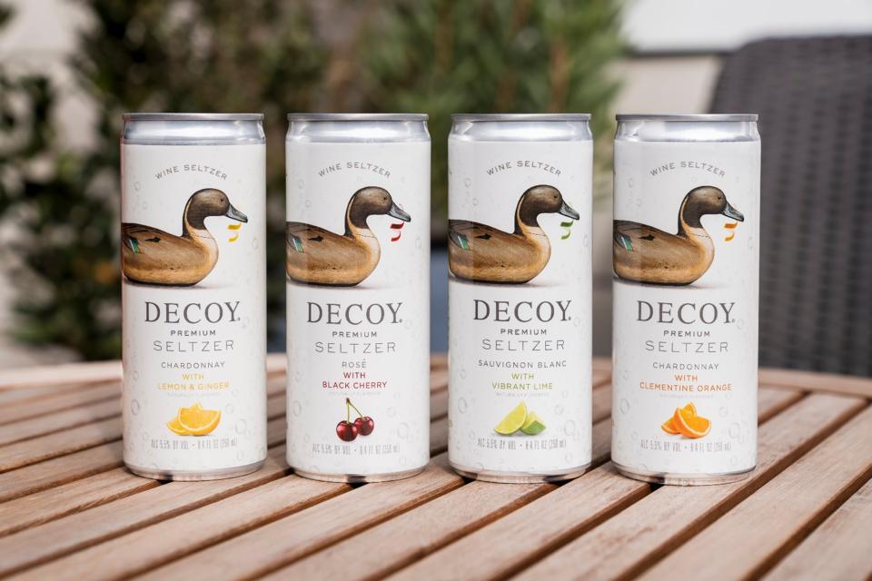Cans of Decoy Seltzer