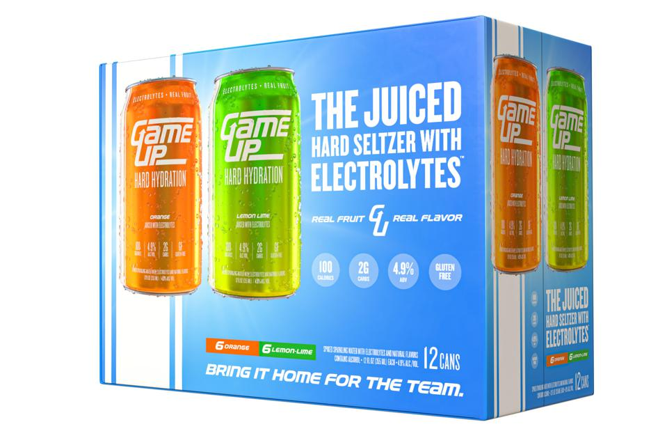 A 12-pack of Game Up hard seltzer