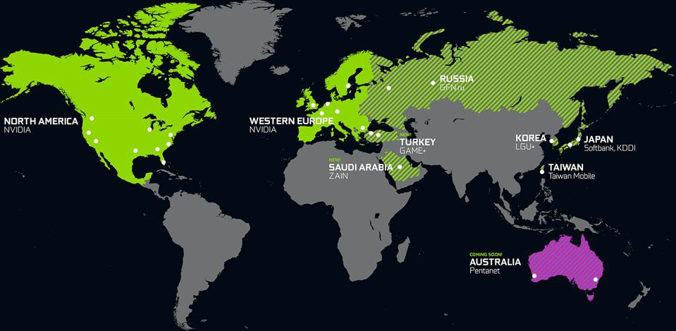 NVIDIA GeForce NOW Data Center Map