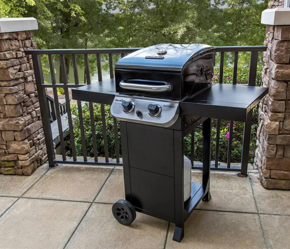 Char-Broil grill set up on a balcony.