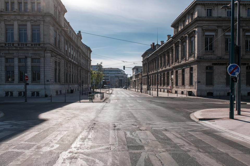 Les rues de Lyon (7ème arrondissement) pendant le confinement en France à cause du Coronavirus, avril 2020