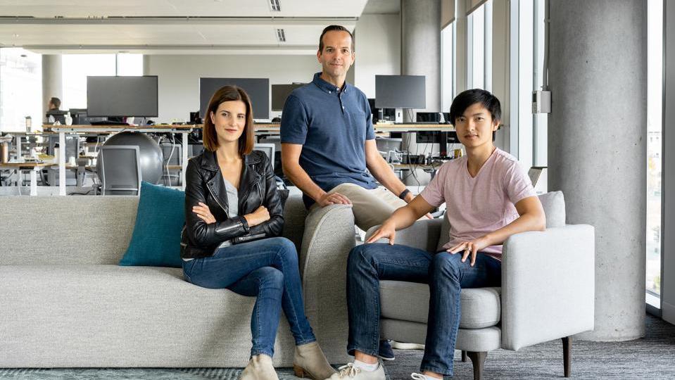 Upstart CEO Dave Girouard (center) and fellow cofounders Anna Counselman and Paul Gu.