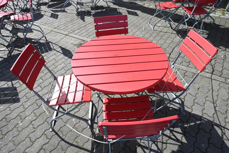 Empty table and chairs at a cafe