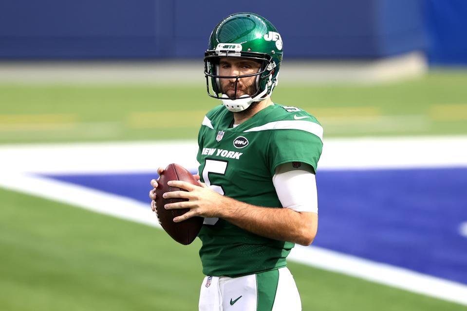 Jets QB Joe Flacco against the Los Angeles Rams.