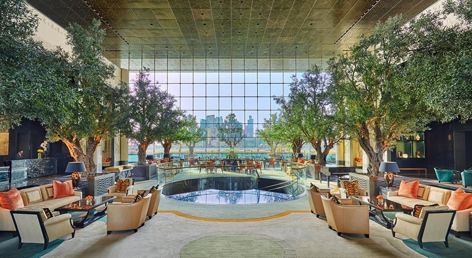 Trees inside lobby