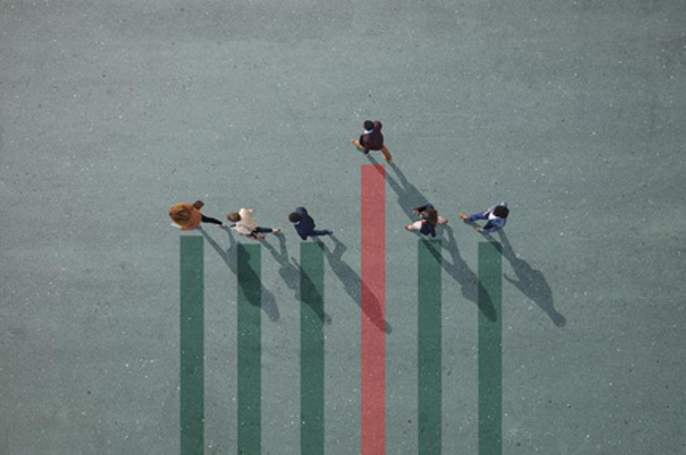 Businesspeople walking in line on bar chart painted on asphalt, one person walking off.