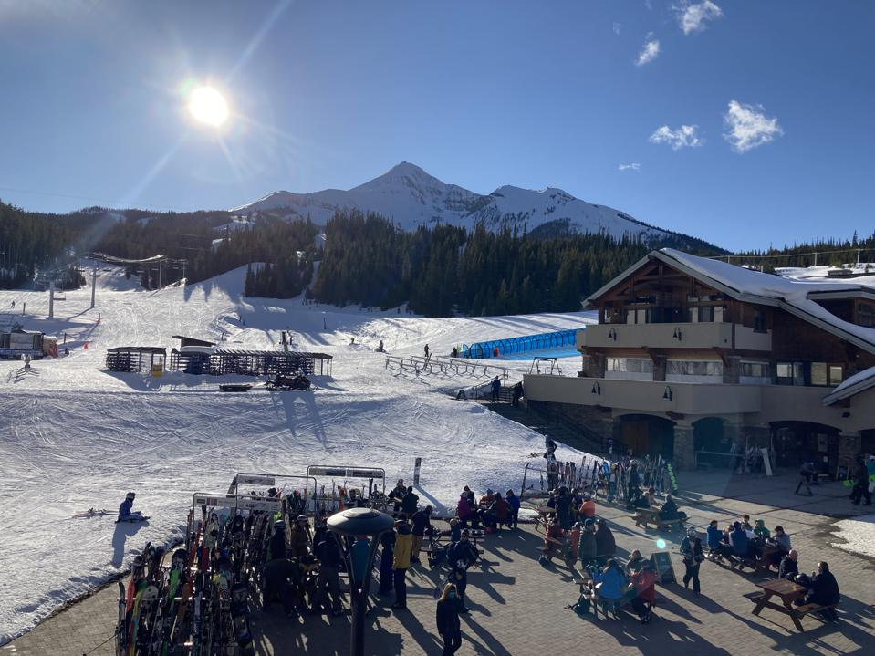View from the Vista Bar during après at Big Sky Resort in Montana.