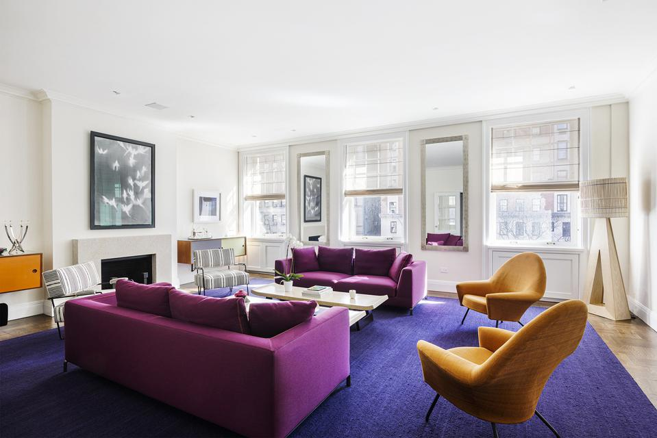 living room and fireplace in a luxury new york city upper east side manhattan apartment