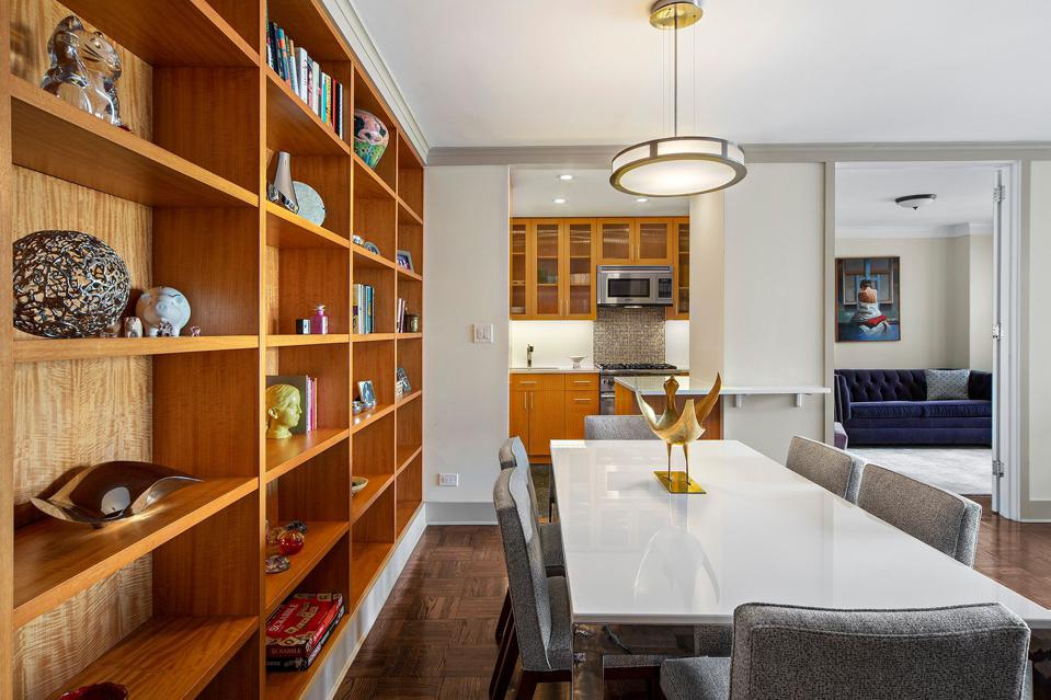 dining room and kitchen in apartment 23e 400 East 56th Street manhattan new york city sutton place