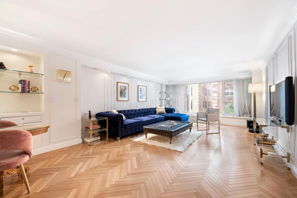living room sutton place apartment manhattan herringbone wood floors nyc
