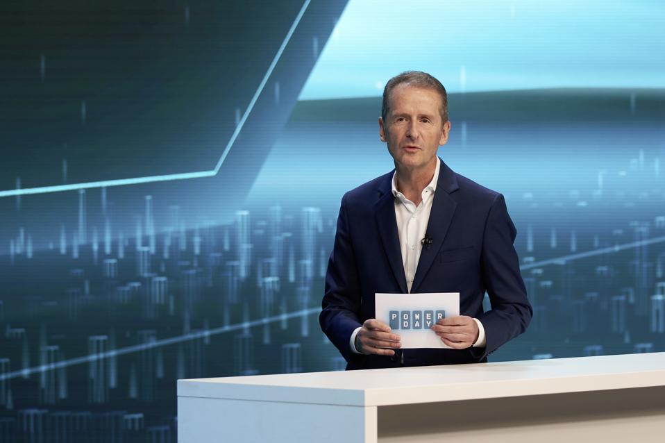 Volkswagen Chairman Herbert Diess making announcements at Power Day.