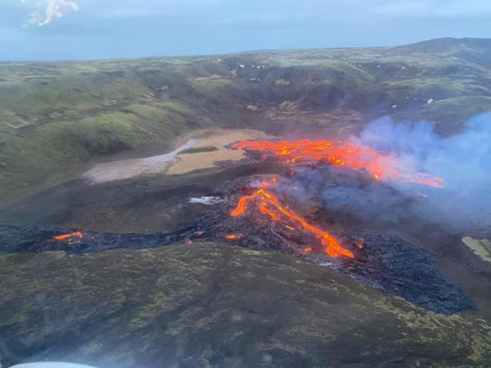 The ongoing fissure eruption in the Geldingadalur valley on the Reykjanes peninsula, Iceland.