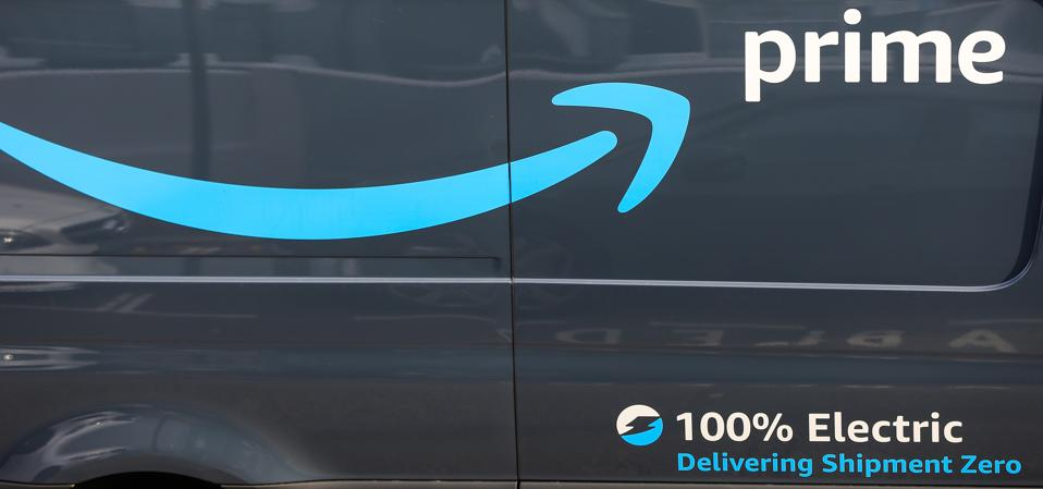 An electric Amazon Prime delivery van is seen in London...