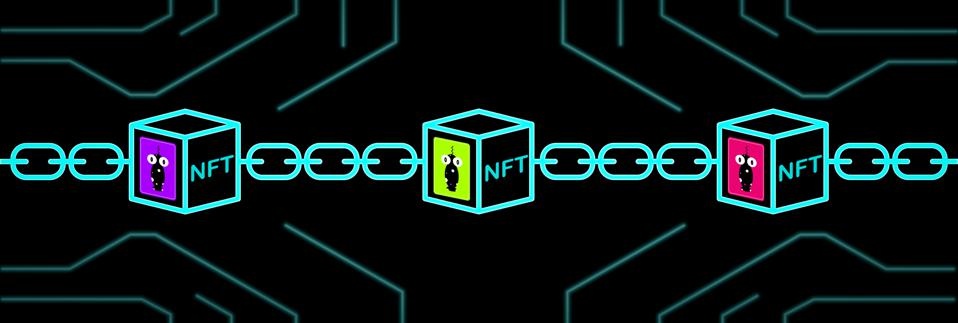 NFT non-fungible tokens art and collectables illustration, use blockchain technology