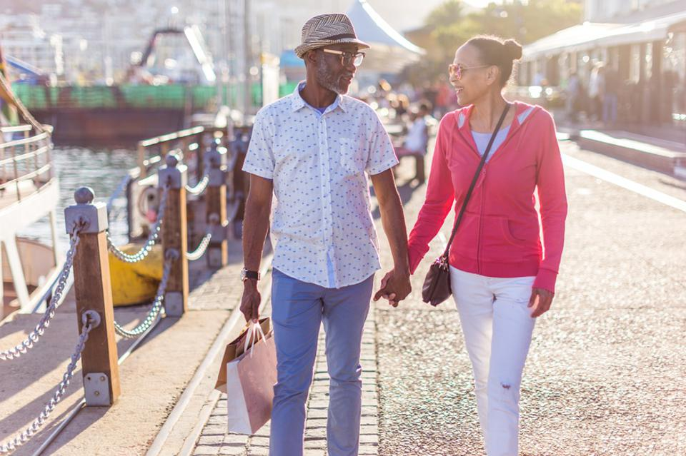 Senior couple shopping on the Cape Town seafront