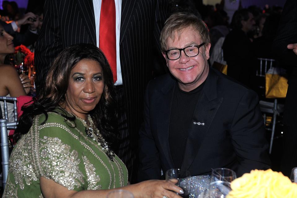 Aretha Franklin and Sir Elton John Tony Bennett's 85th Birthday Gala Benefit for Exploring the Arts