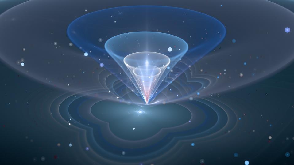 Blue glowing qubit fractal